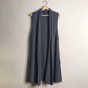 HALOGEN Cashmere Sleeveless Open Cardigan Duster